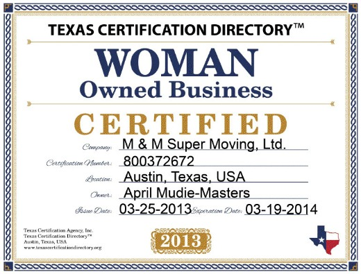 M&M Super Moving Woman Owned Business Certificate